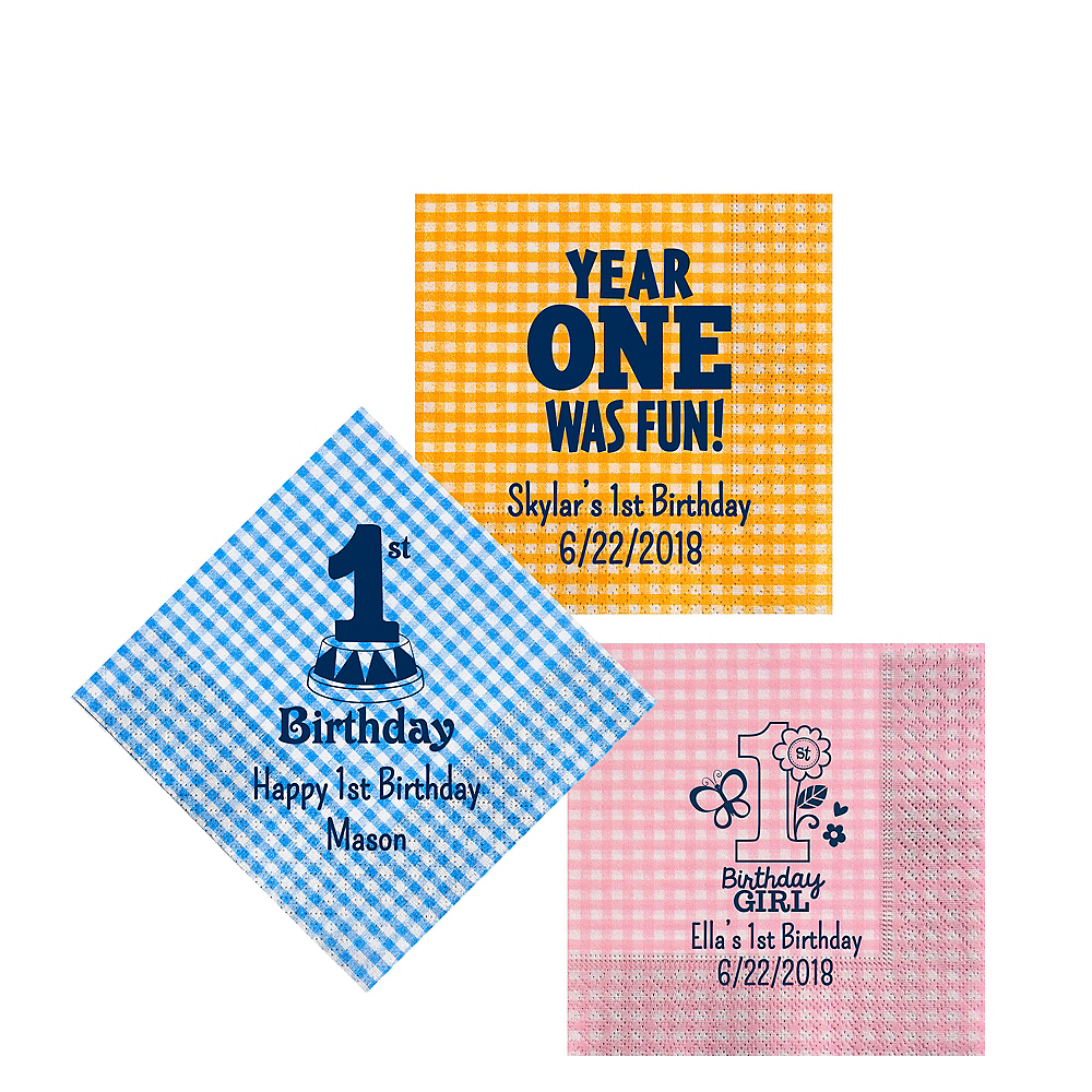 Personalized 1st Birthday Gingham Beverage Napkins Image #1