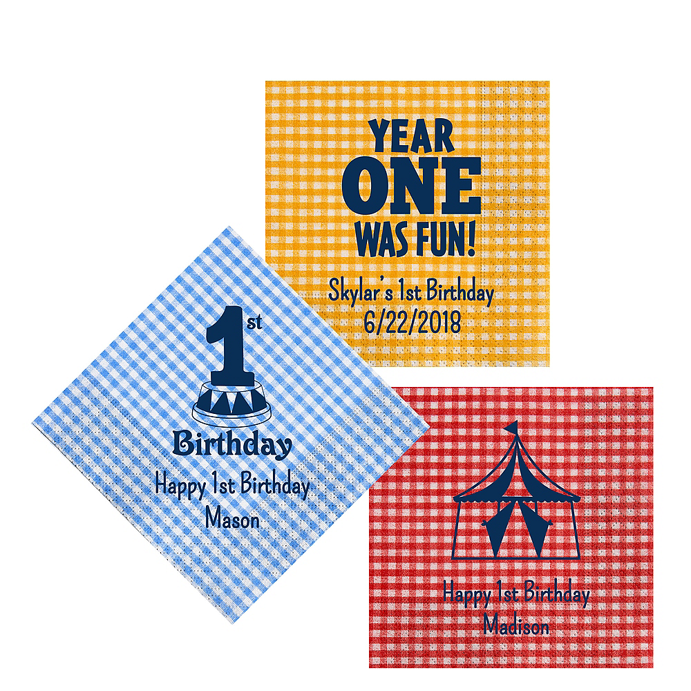 Personalized 1st Birthday Gingham Lunch Napkins Image #1