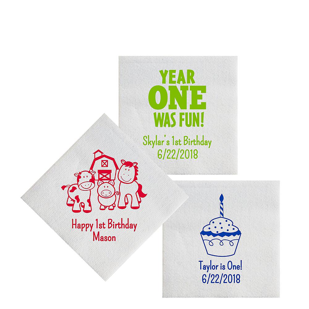 Personalized 1st Birthday Luxury Deville Beverage Napkins Image #1