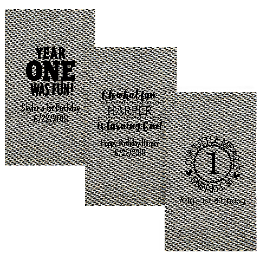 Personalized 1st Birthday Tweed Print Guest Towels Image #1
