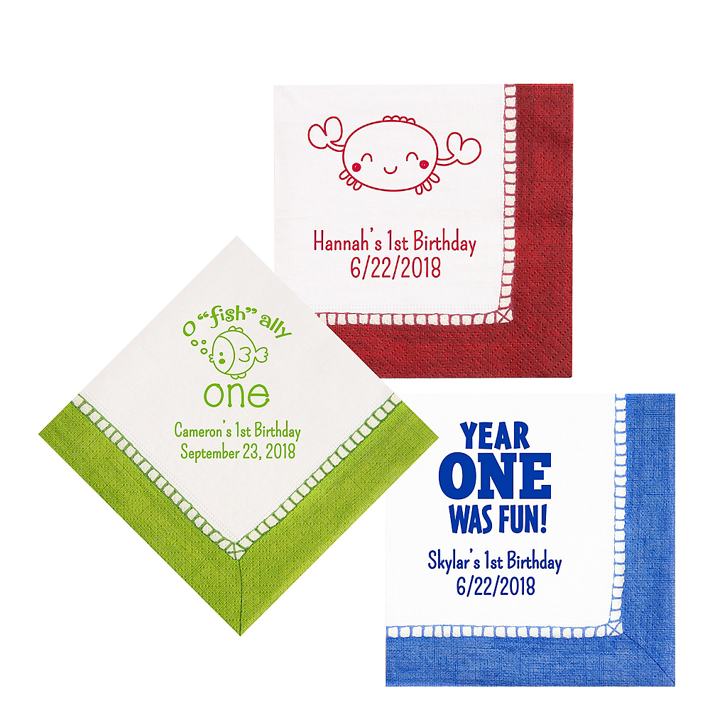 Personalized 1st Birthday Bordered Lunch Napkins Image #1