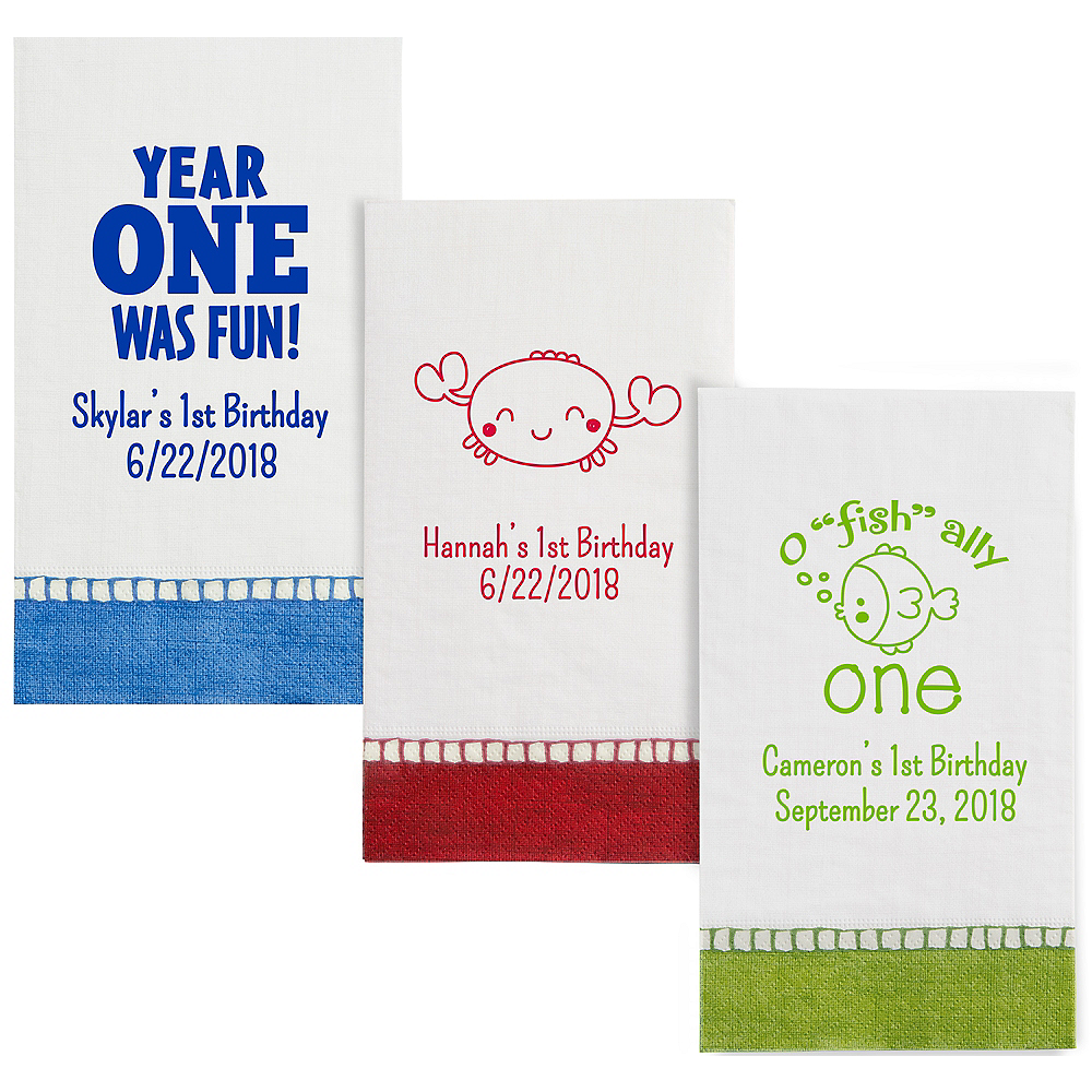 Personalized 1st Birthday Bordered Guest Towels Image #1