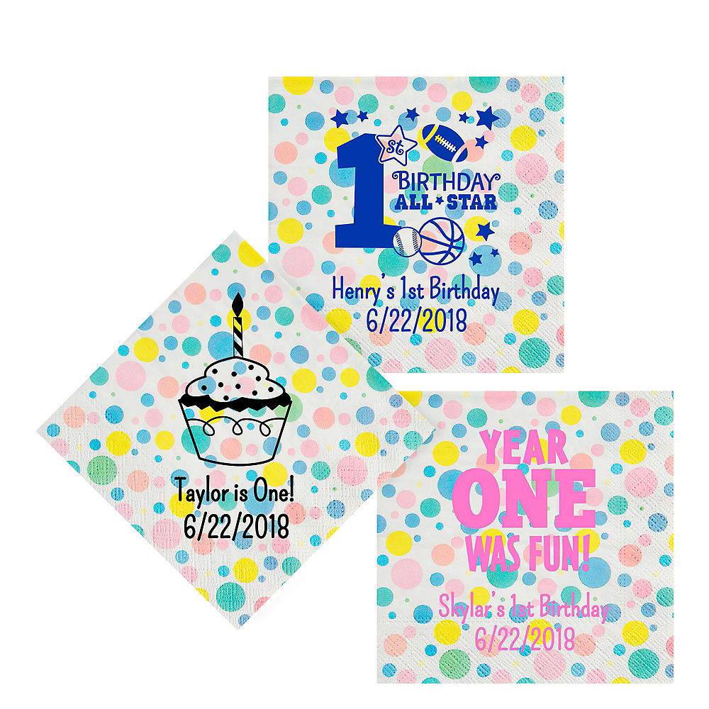 Personalized 1st Birthday Pastel Dots Lunch Napkins Image #1