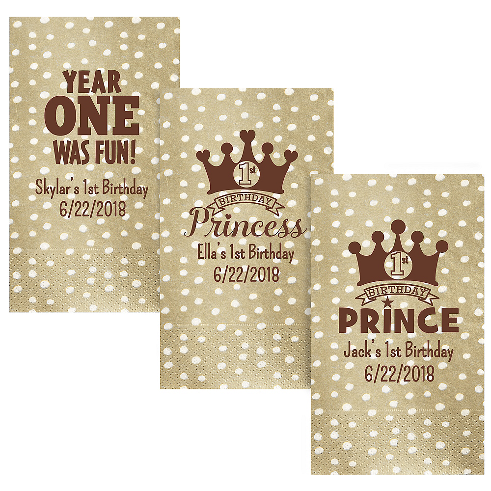 Personalized 1st Birthday Small Dots Guest Towels Image #1