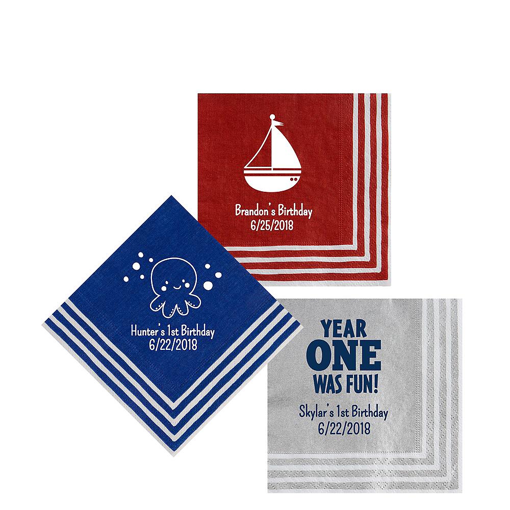 Personalized 1st Birthday Stripe Border Beverage Napkins Image #1