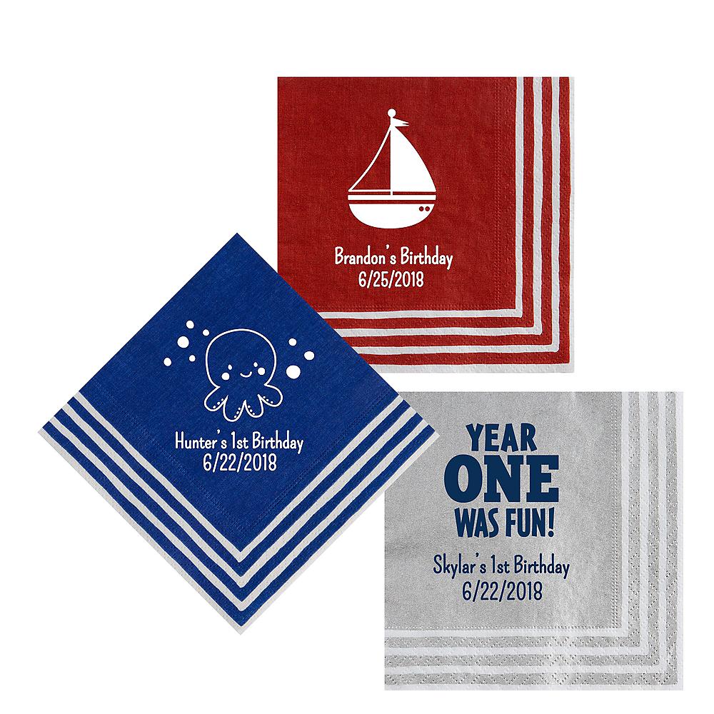 Personalized 1st Birthday Stripe Border Lunch Napkins Image #1