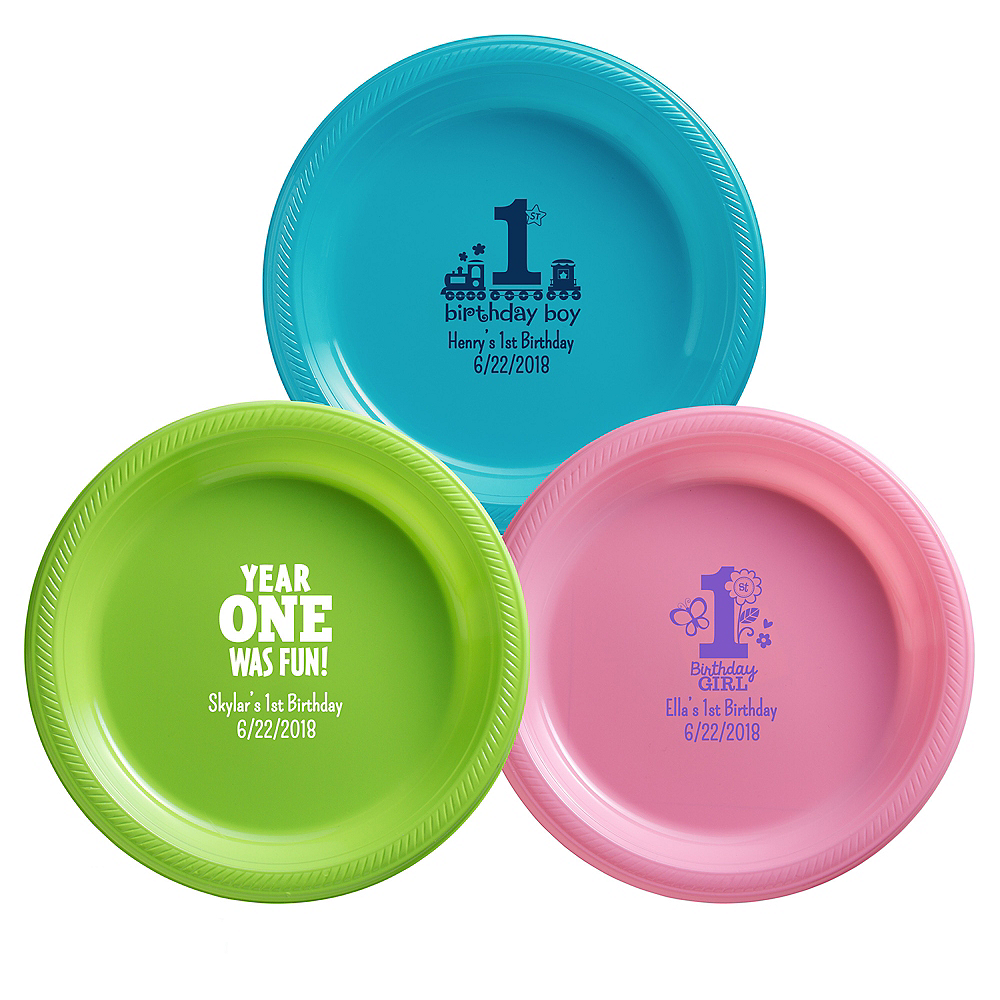 Personalized 1st Birthday Plastic Dinner Plates Image #1
