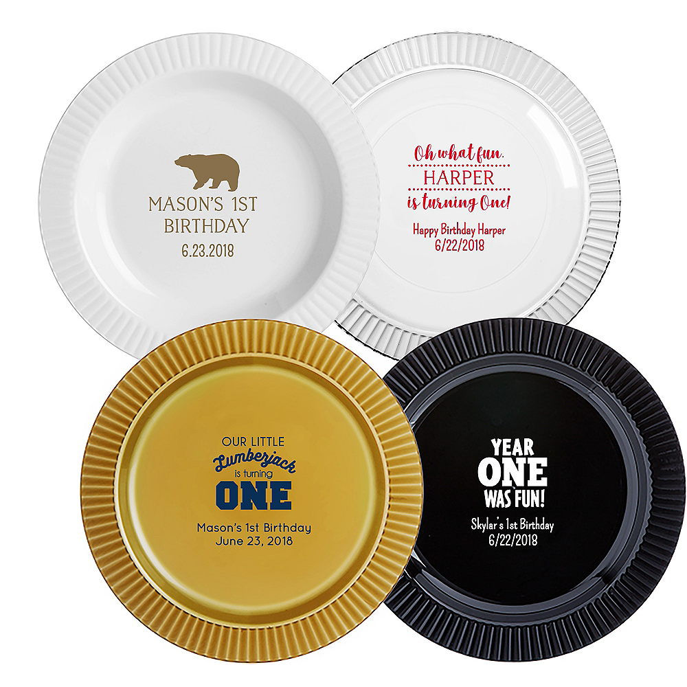 Personalized 1st Birthday Premium Plastic Dinner Plates Image #1