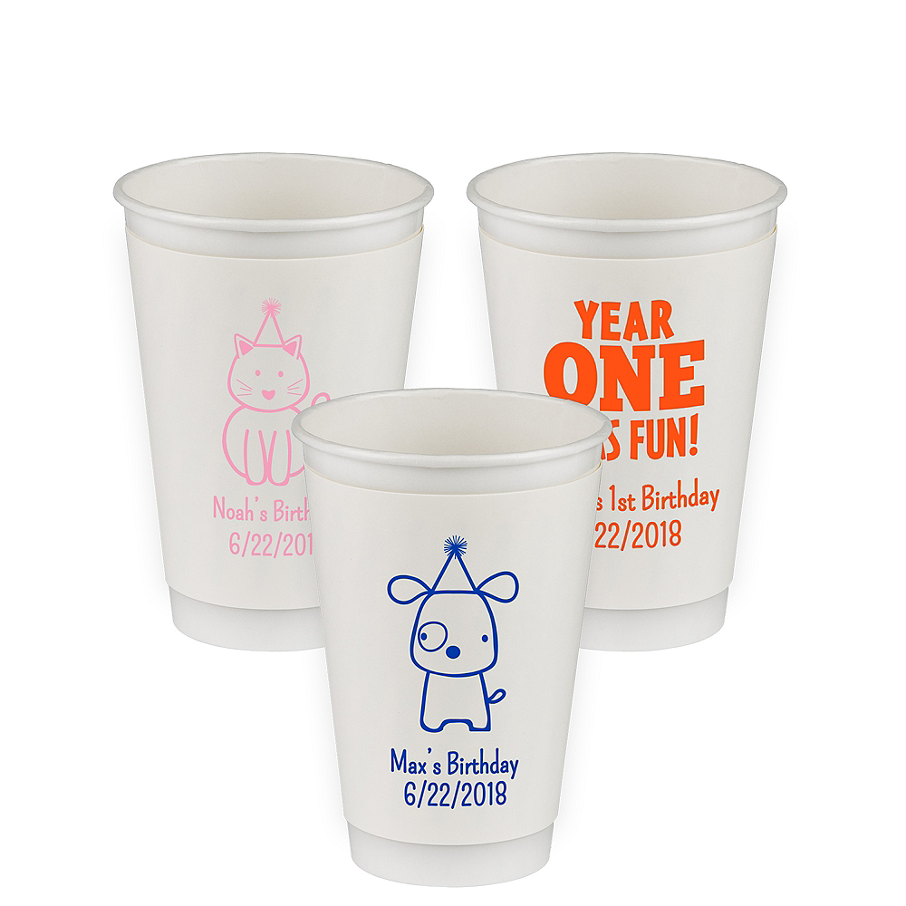 Personalized 1st Birthday Insulated Paper Cups 16oz Image #1