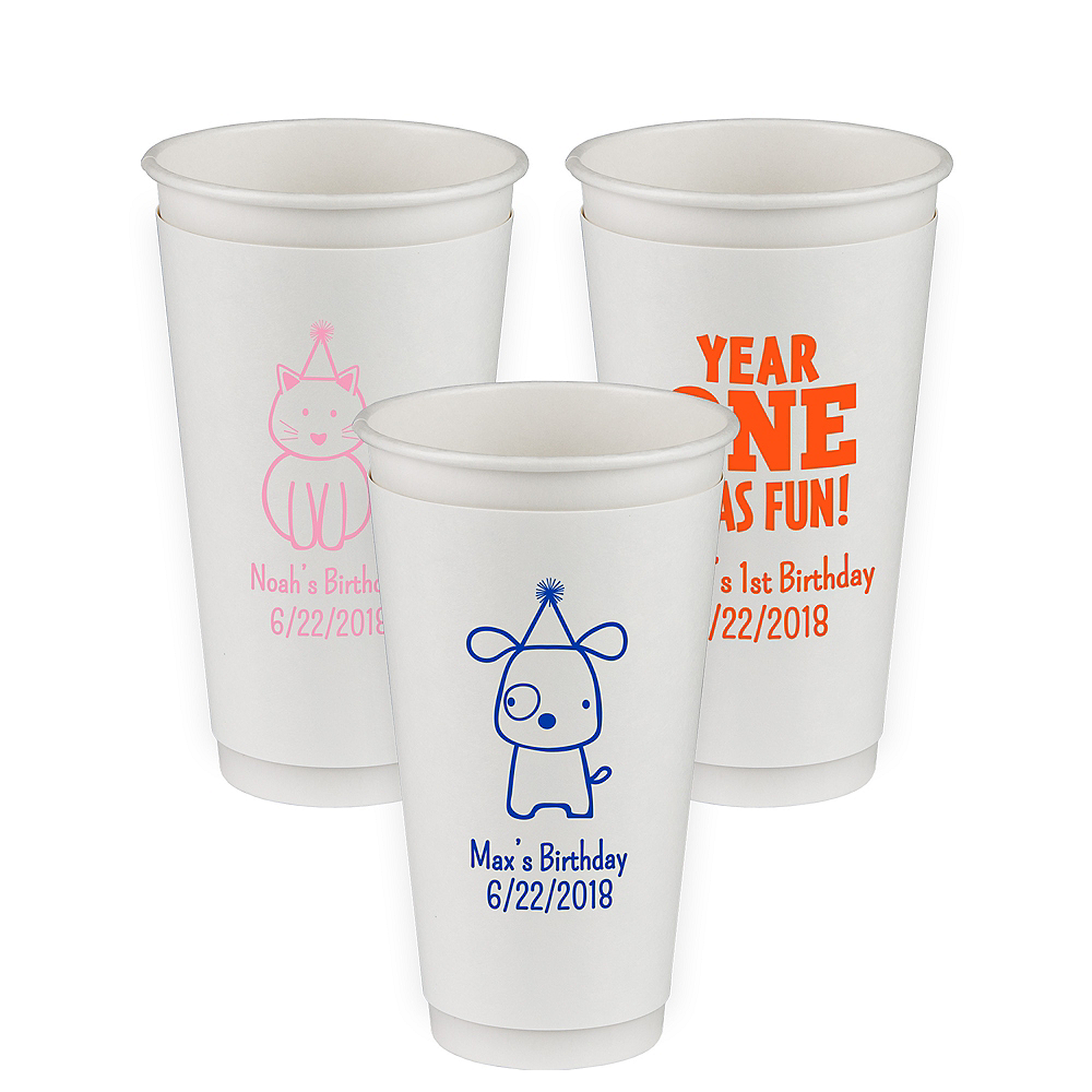 Personalized 1st Birthday Insulated Paper Cups 20oz Image #1