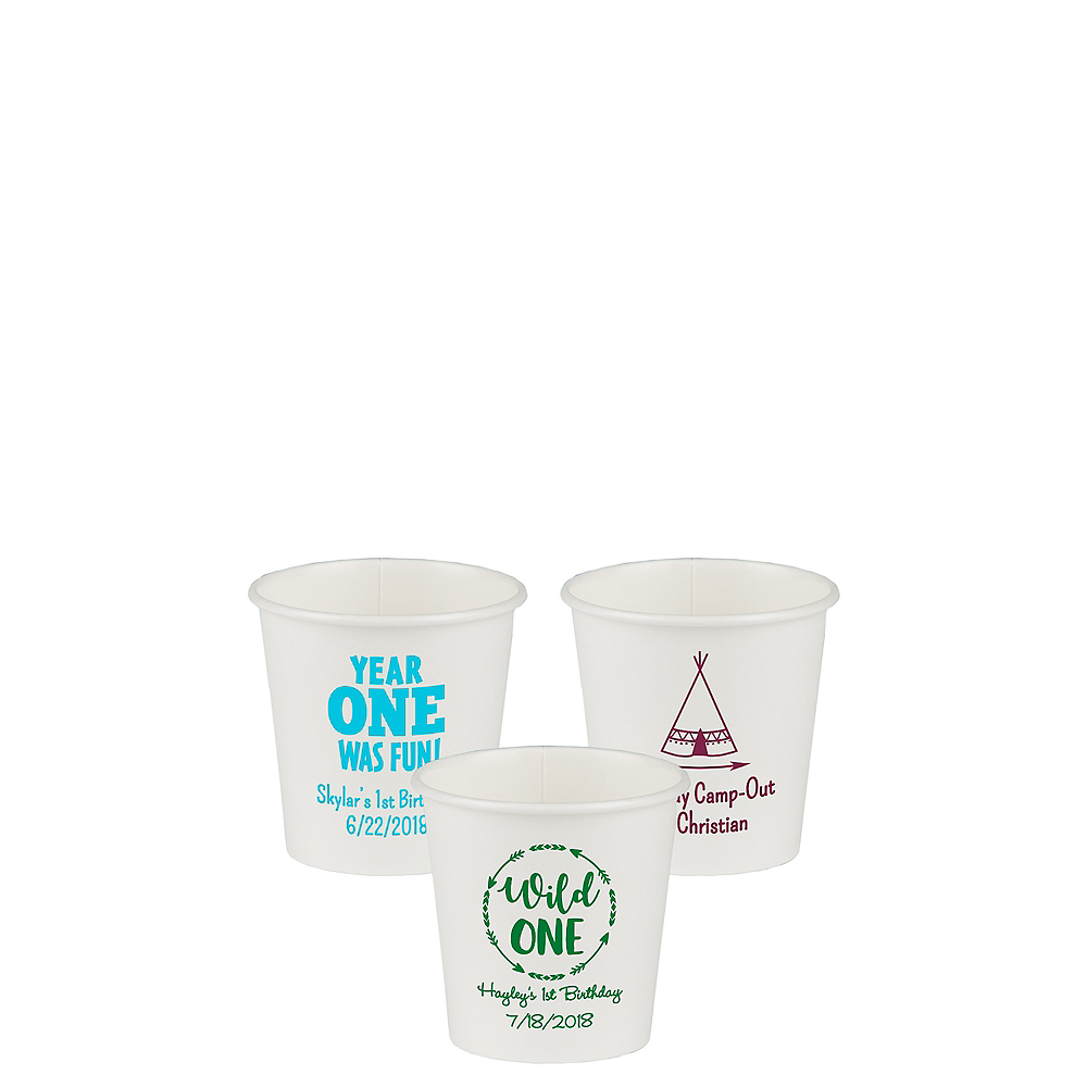 Personalized 1st Birthday Paper Cups 4oz Image #1