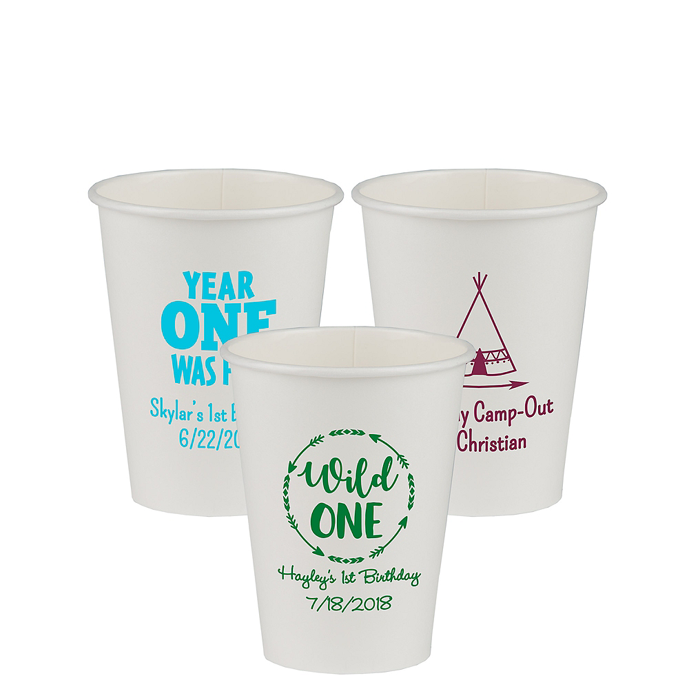 Personalized 1st Birthday Paper Cups 12oz Image #1