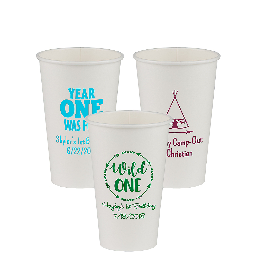 Personalized 1st Birthday Paper Cups 16oz Image #1
