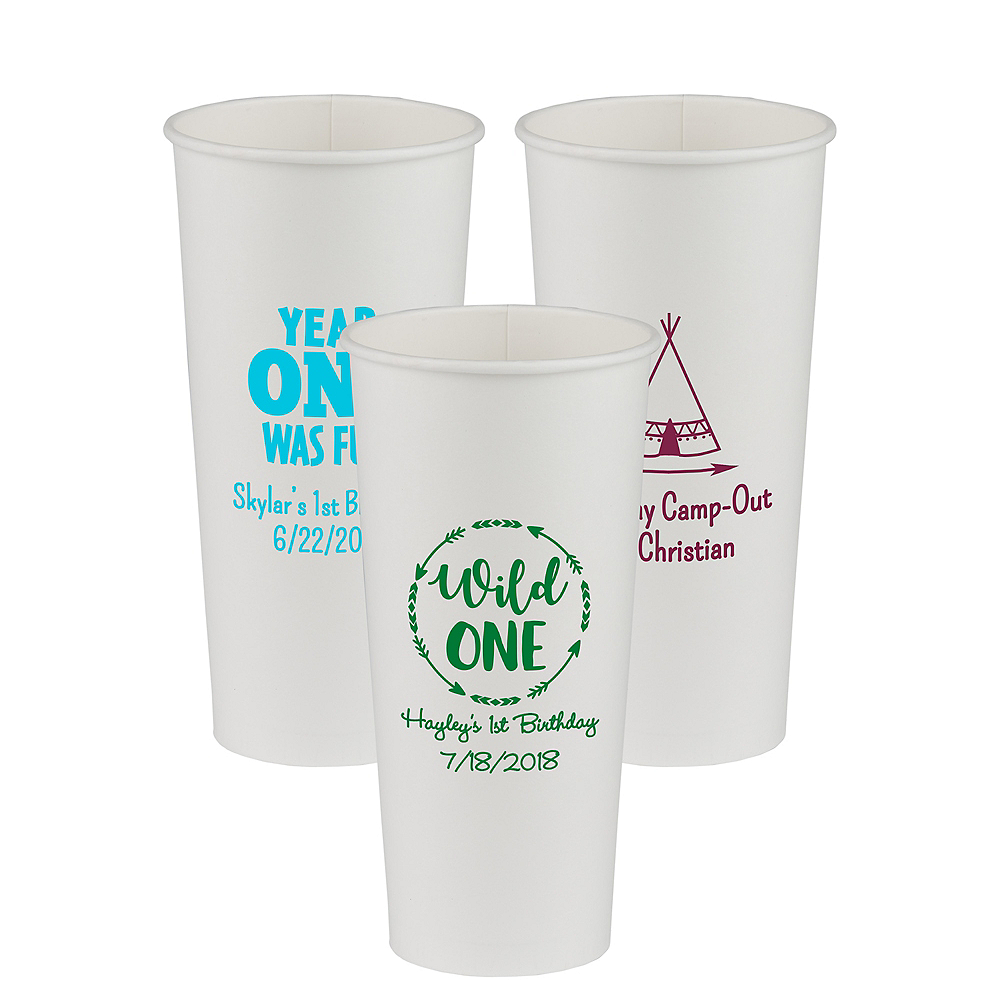 Personalized 1st Birthday Paper Cups 24oz Image #1