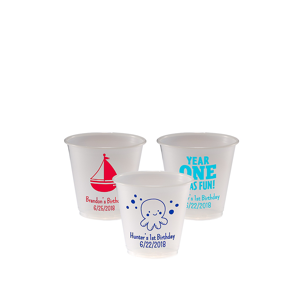 Personalized 1st Birthday Plastic Party Cups 3.5oz Image #1