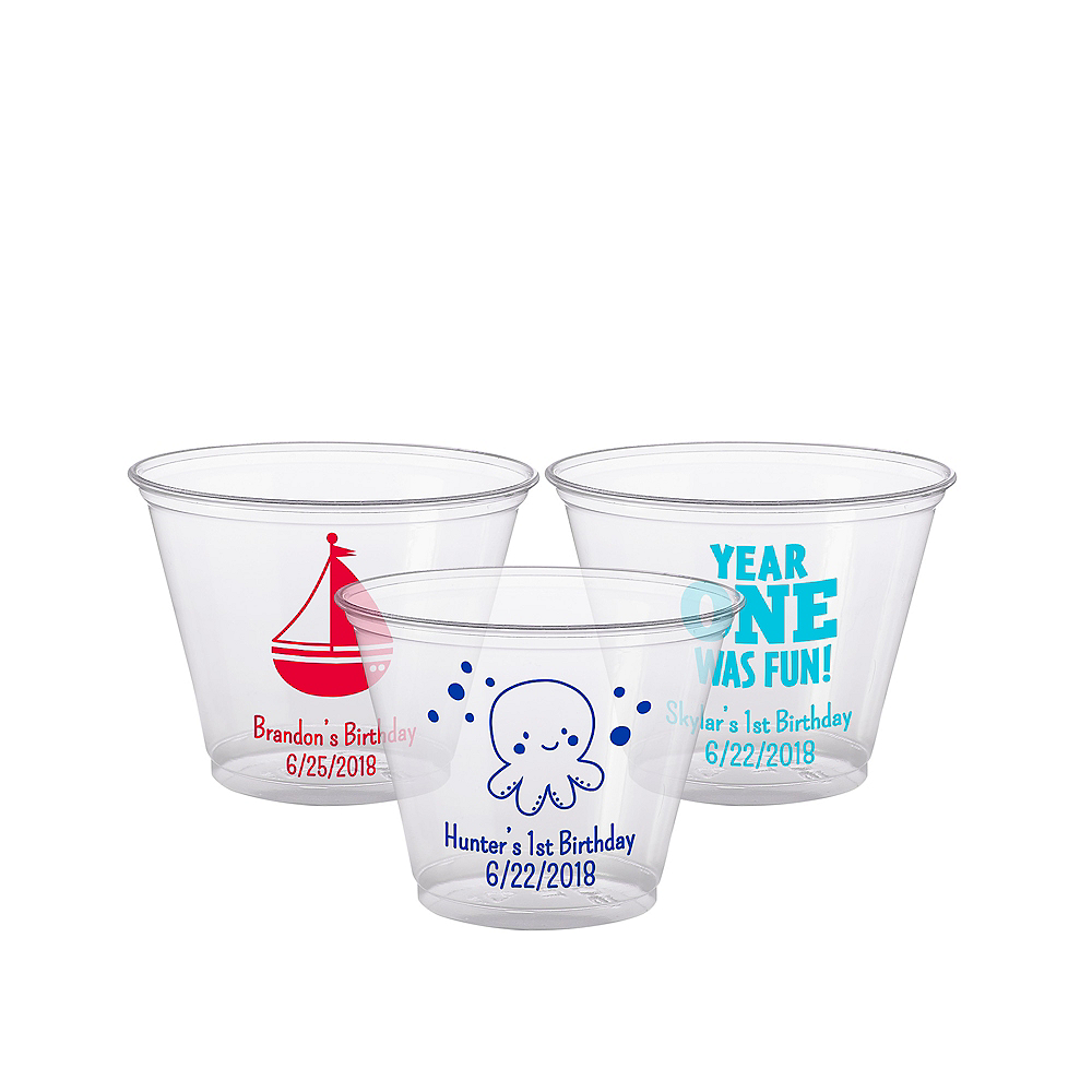 Personalized 1st Birthday Plastic Party Cups 9oz Image #1