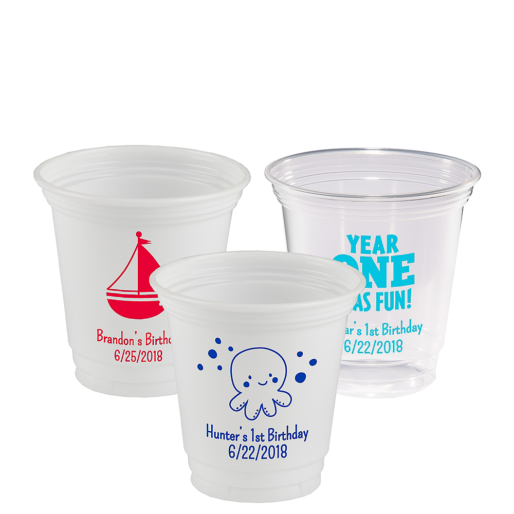 Personalized 1st Birthday Plastic Party Cups 12oz Image #1