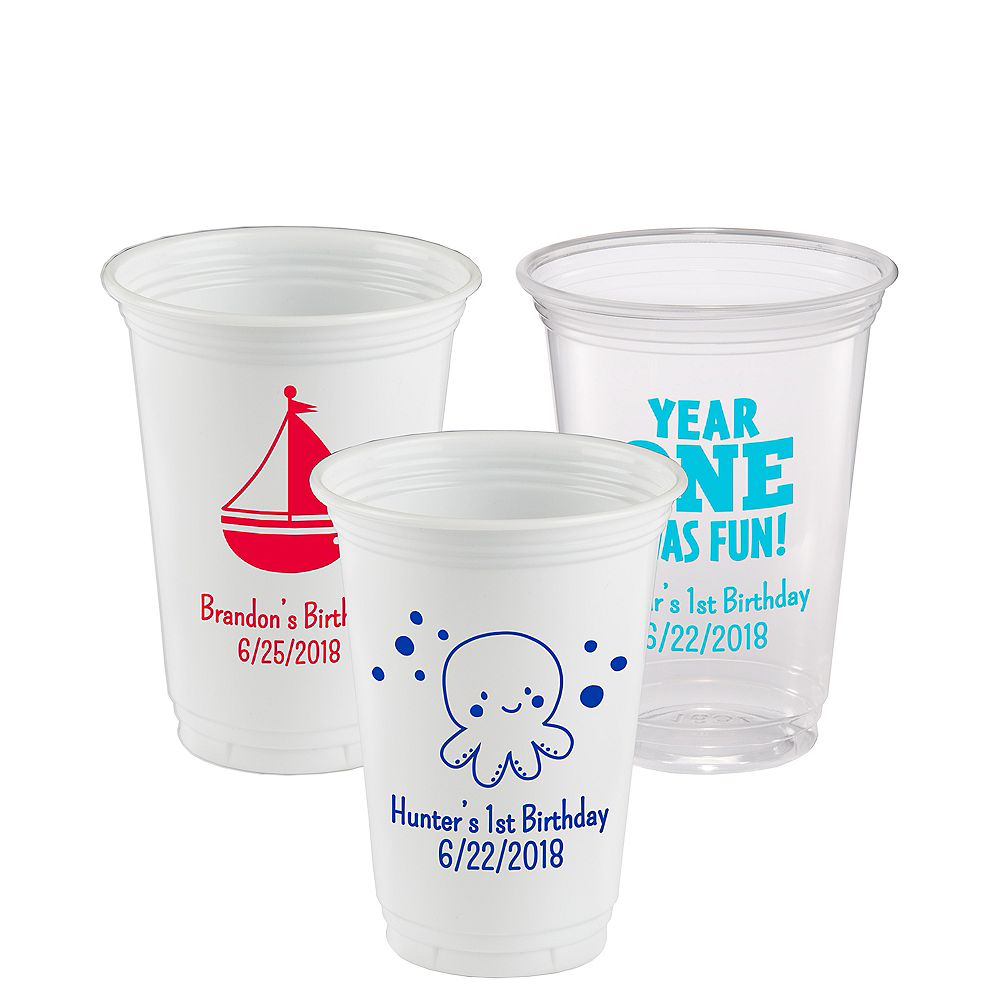 Personalized 1st Birthday Plastic Party Cups 16oz Image #1