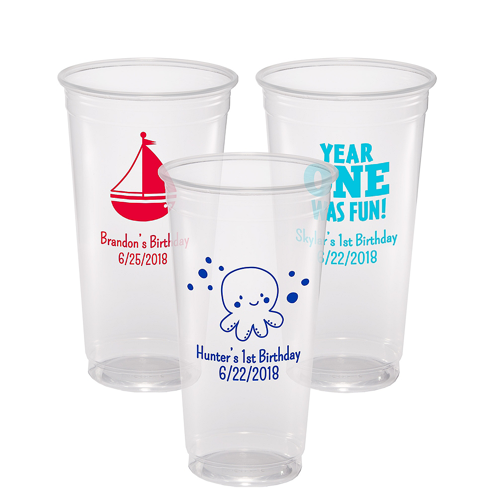 Personalized 1st Birthday Plastic Party Cups 24oz Image #1