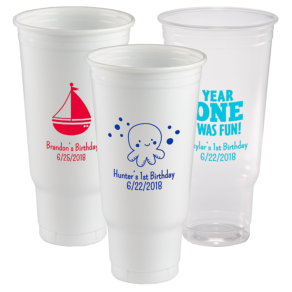 Personalized 1st Birthday Plastic Party Cups 44oz Image #1