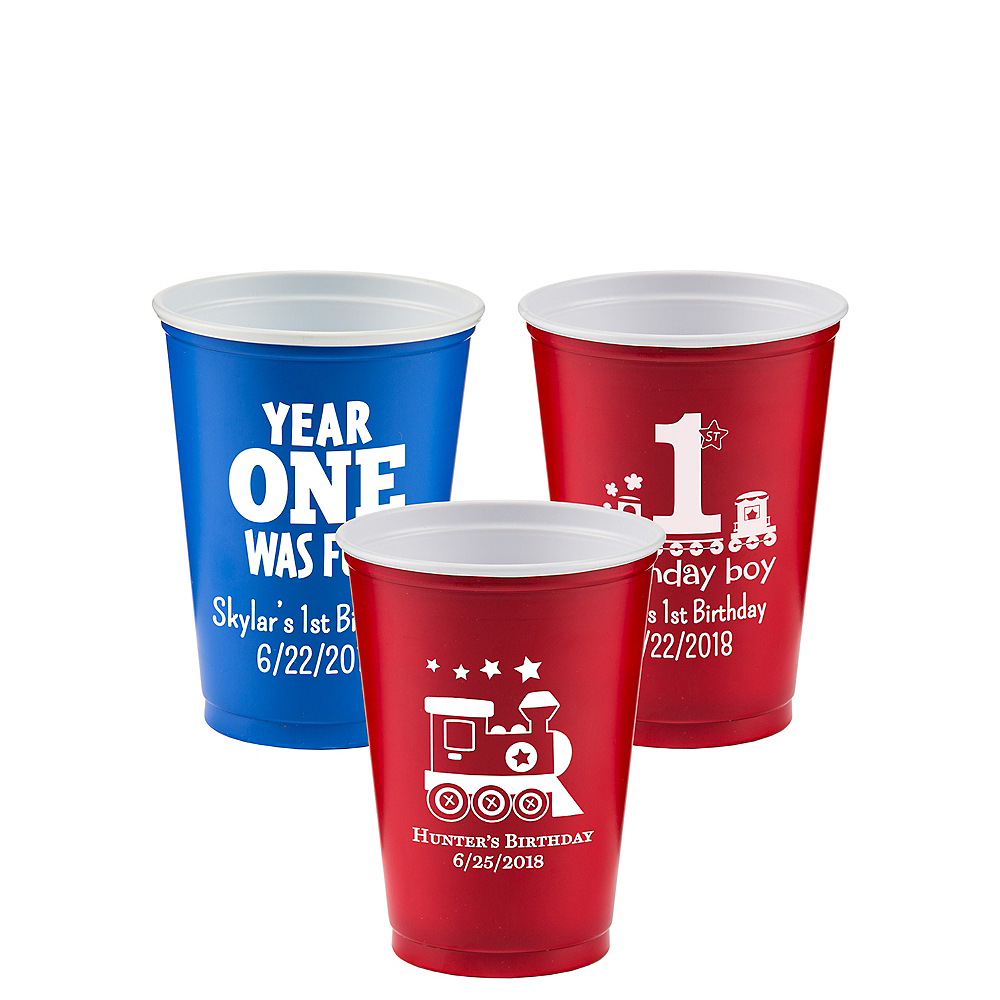 Personalized 1st Birthday Solid-Color Plastic Party Cups 10oz Image #1