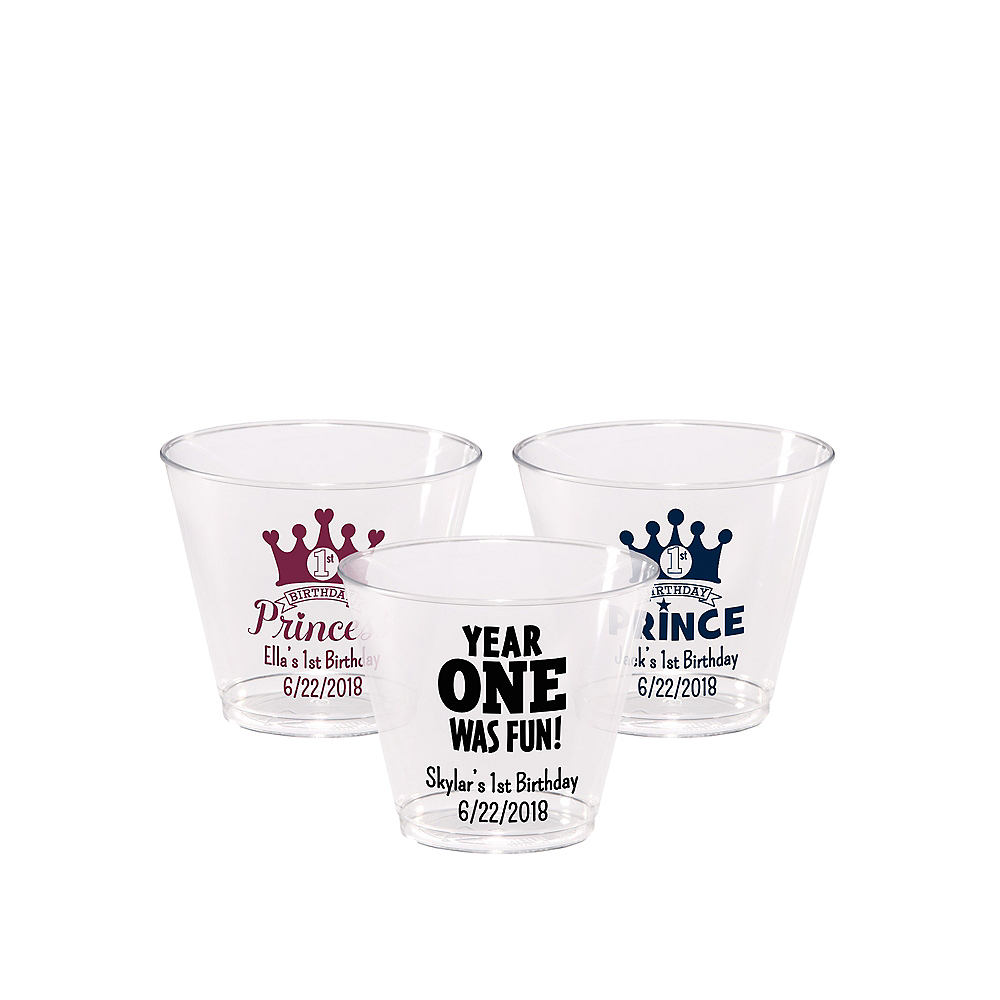 Personalized 1st Birthday Hard Plastic Cups 5oz Image #1