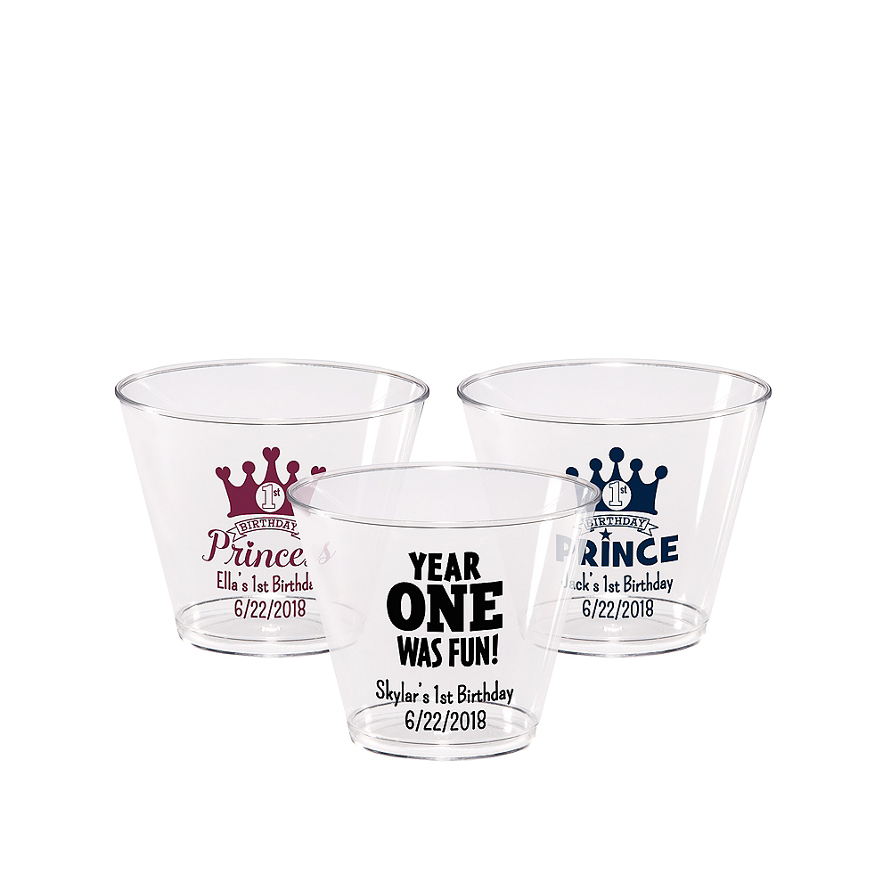Personalized 1st Birthday Hard Plastic Cups 9oz Image #1