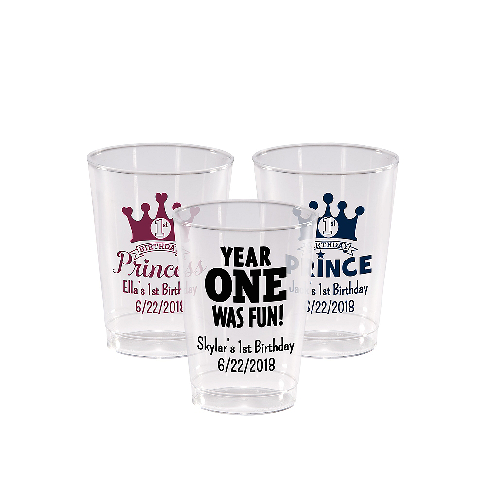 Personalized 1st Birthday Hard Plastic Cups 10oz Image #1