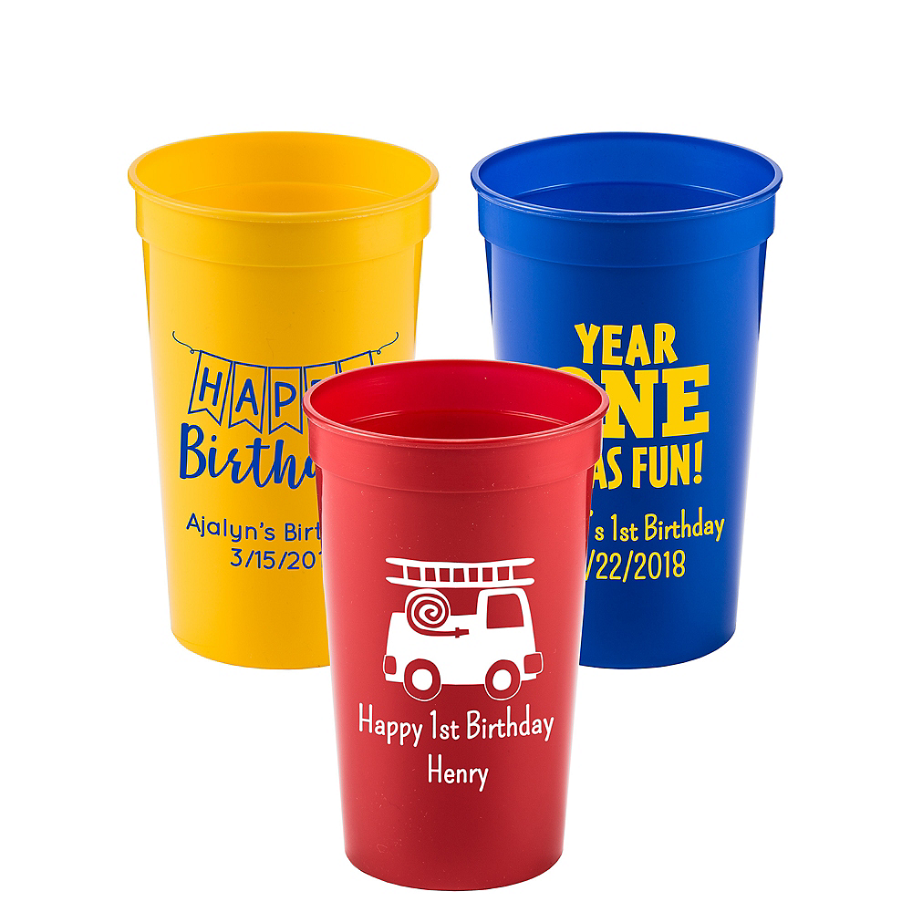 Personalized 1st Birthday Plastic Stadium Cups 22oz Image #1