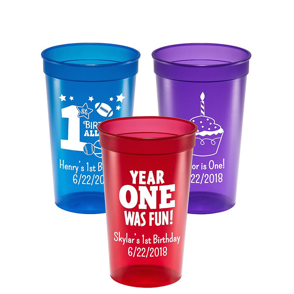 Personalized 1st Birthday Translucent Plastic Stadium Cups 22oz Image #1