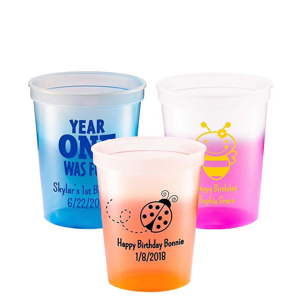 Personalized 1st Birthday Color-Changing Plastic Stadium Cups 16oz Image #1