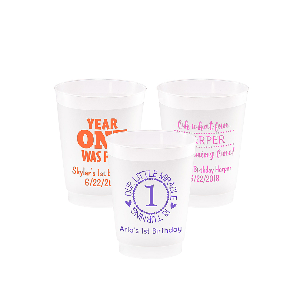 Personalized 1st Birthday Frosted Plastic Shatterproof Cups 10oz Image #1