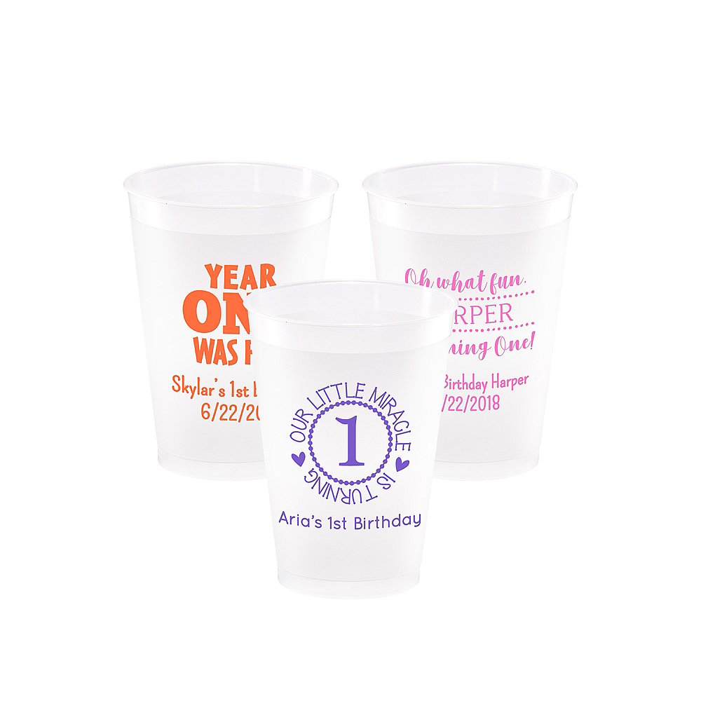 Personalized 1st Birthday Frosted Plastic Shatterproof Cups 12oz Image #1
