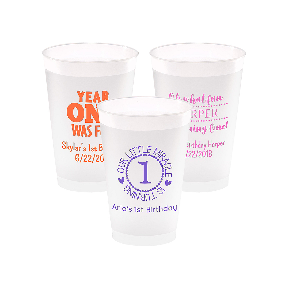 Personalized 1st Birthday Frosted Plastic Shatterproof Cups 14oz Image #1