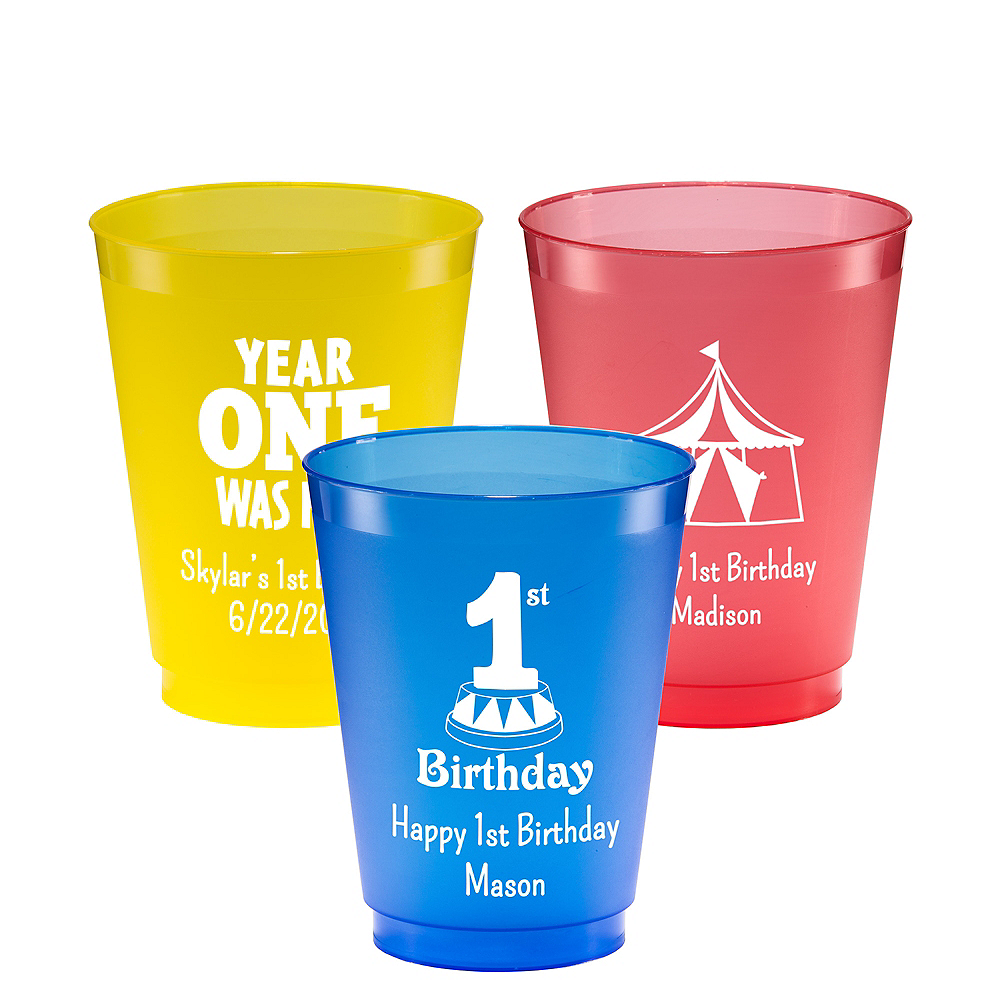 Personalized 1st Birthday Plastic Shatterproof Cups 16oz Image #1