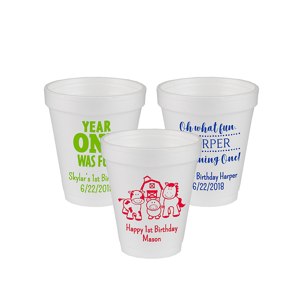 Personalized 1st Birthday Foam Cups 6oz Image #1