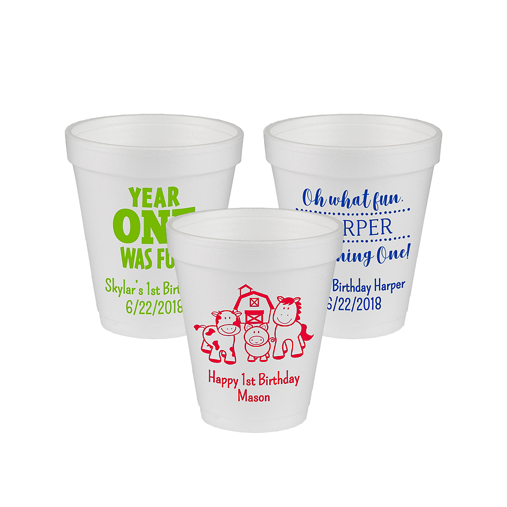 Personalized 1st Birthday Foam Cups 8oz Image #1