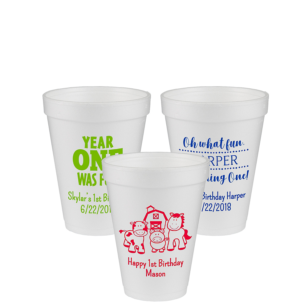 Personalized 1st Birthday Foam Cups 12oz Image #1