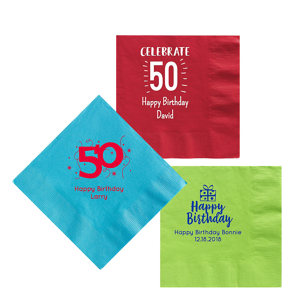 Personalized Milestone Birthday Lunch Napkins Image #1