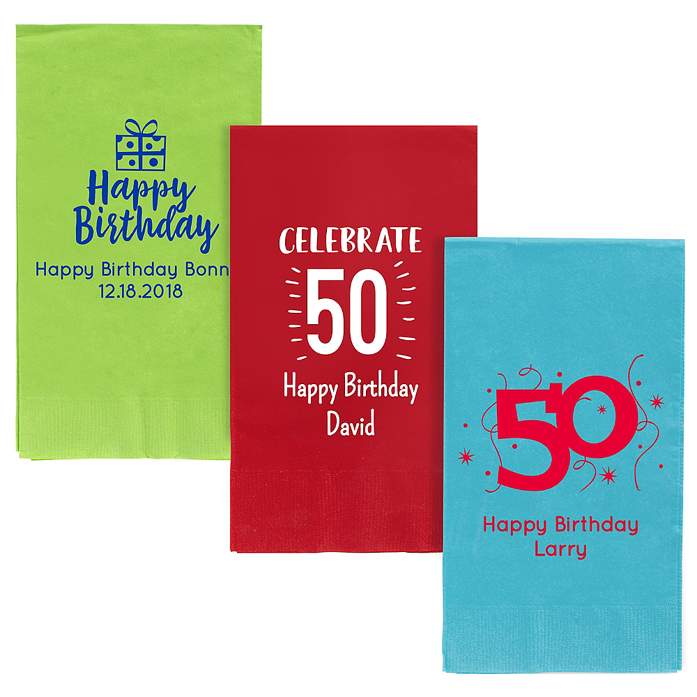 Personalized Milestone Birthday Guest Towels Image #1