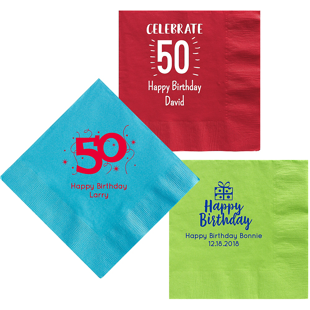 Personalized Milestone Birthday Dinner Napkins Image #1