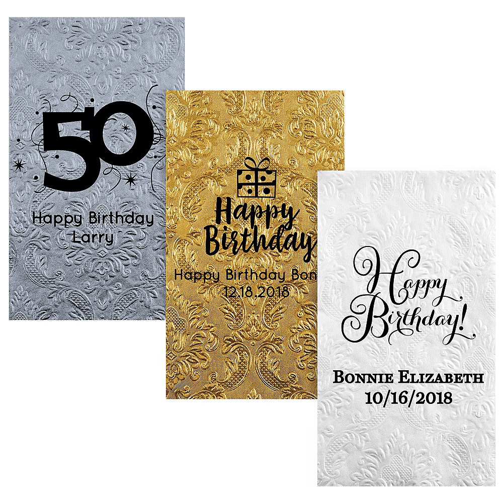 Personalized Milestone Birthday Embossed Damask Guest Towels Image #1