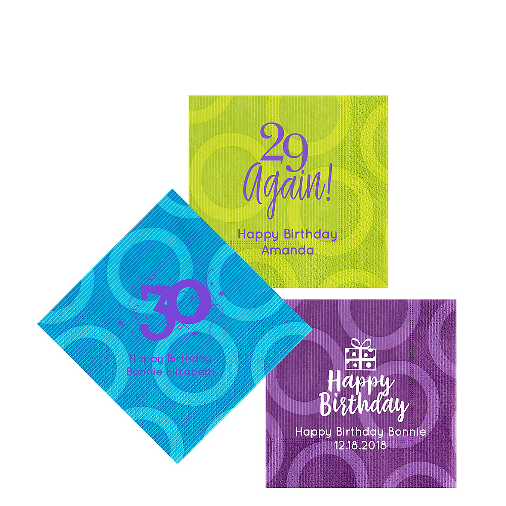 Personalized Milestone Birthday Circles Beverage Napkins Image #1