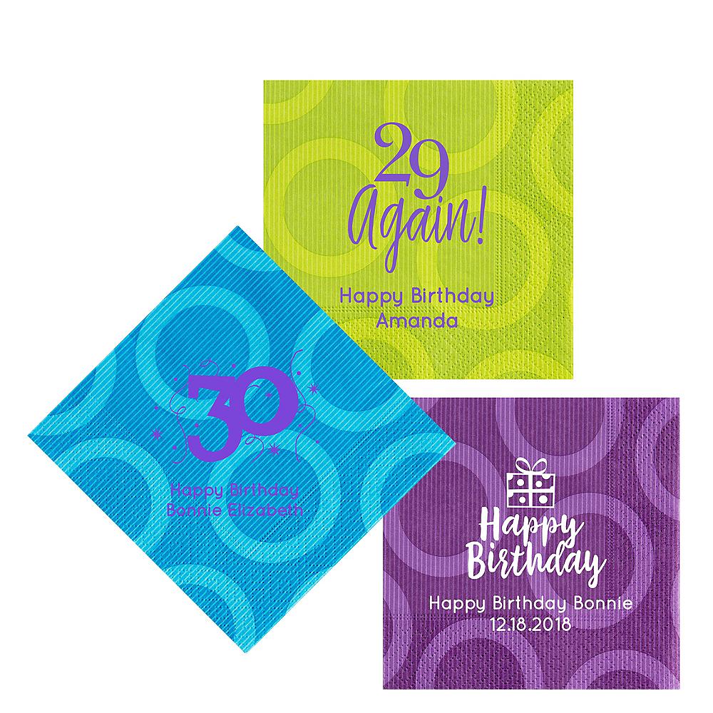 Personalized Milestone Birthday Circles Lunch Napkins Image #1