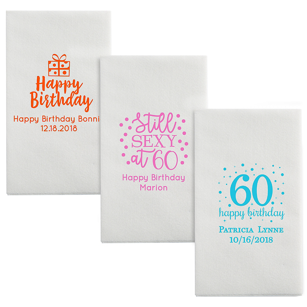 Personalized Milestone Birthday Luxury Deville Side-Fold Dinner Napkins Image #1
