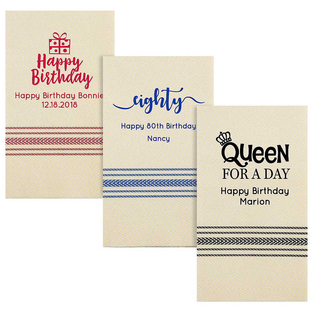 Personalized Milestone Birthday Herringbone Guest Towels Image #1