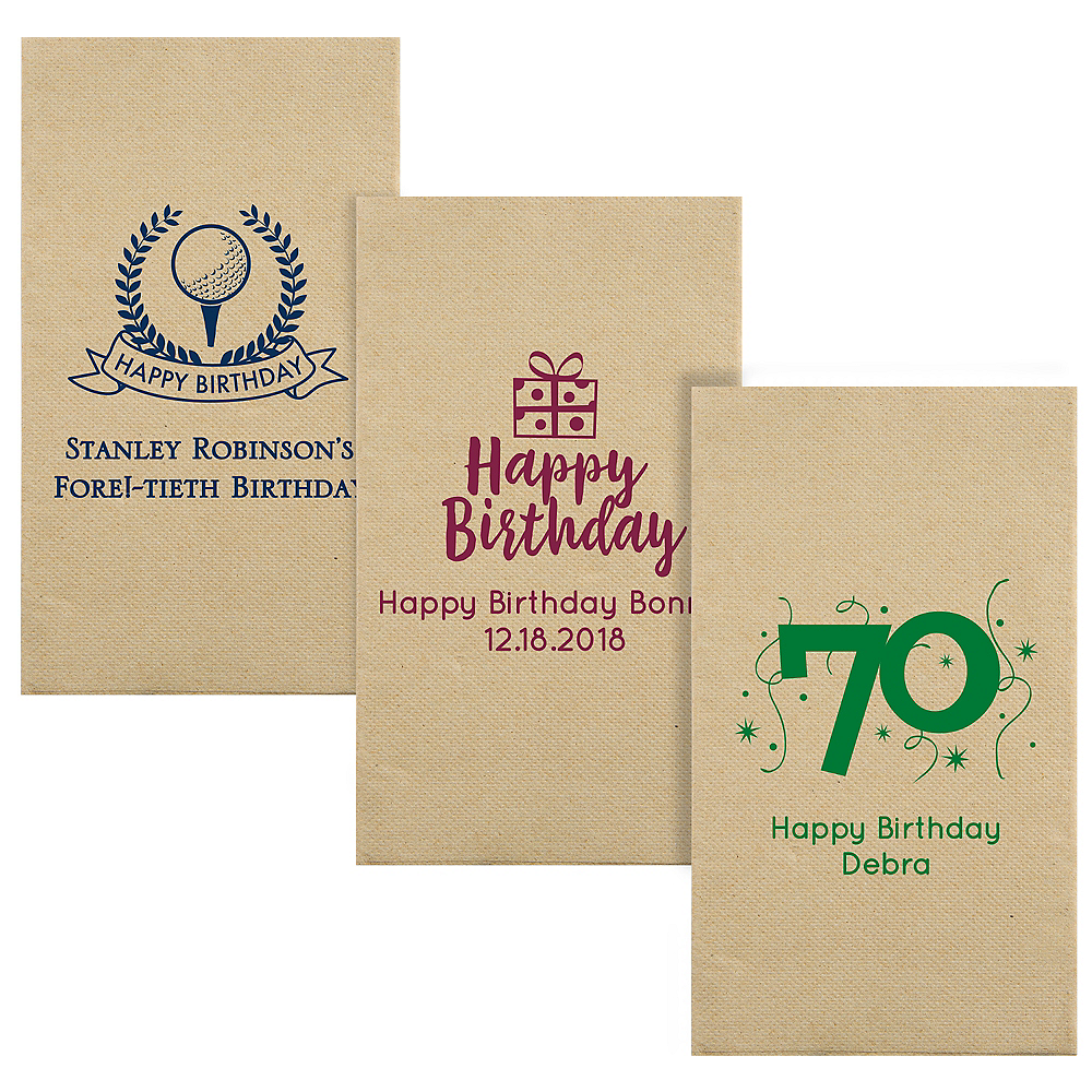 Personalized Milestone Birthday Eco-Friendly Guest Towels Image #1