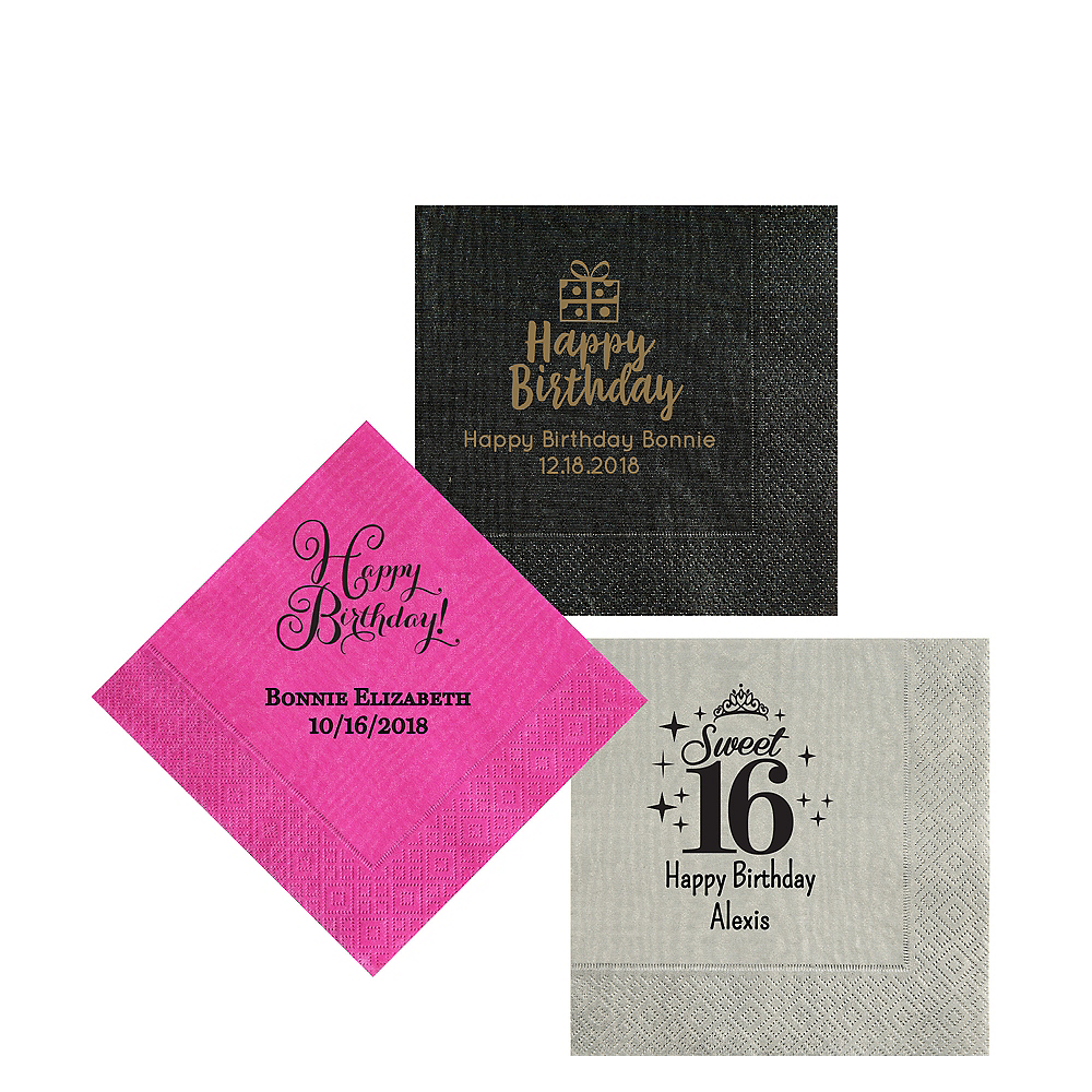 Personalized Milestone Birthday Moire Beverage Napkins Image #1