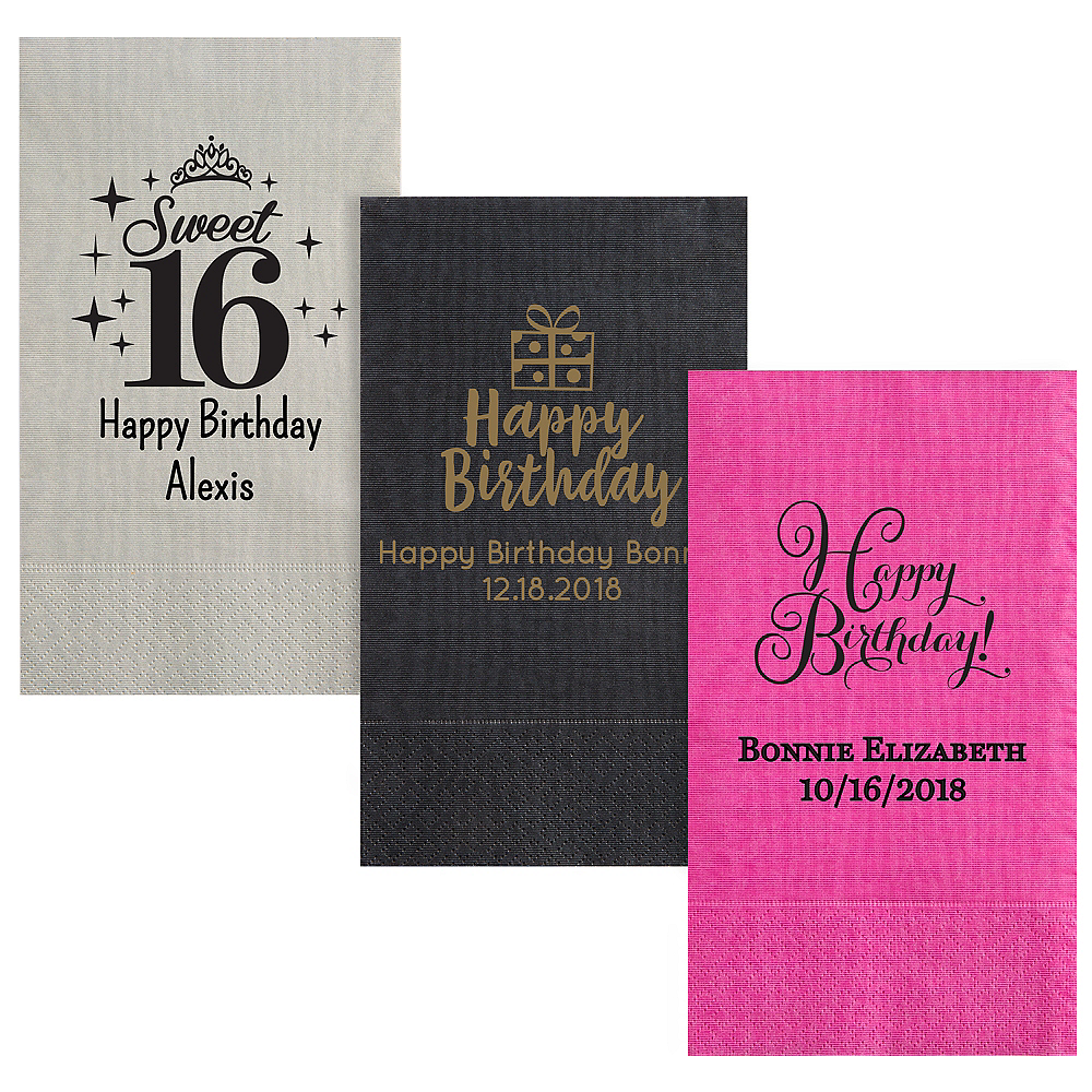 Personalized Milestone Birthday Moire Guest Towels Image #1
