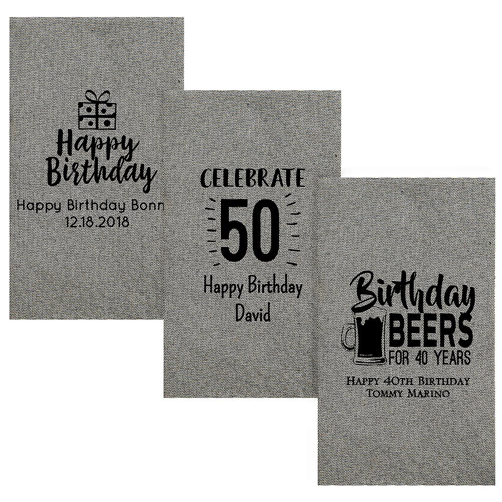 Personalized Milestone Birthday Tweed Print Guest Towels Image #1